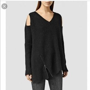 All saints dark grey knit sweater